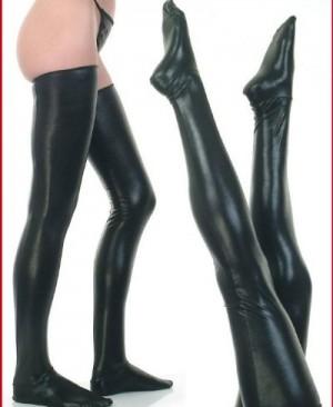 Black-Faux-Leather-WetLook-Vinyl-Fetish-Stockings-LC7796-2-3