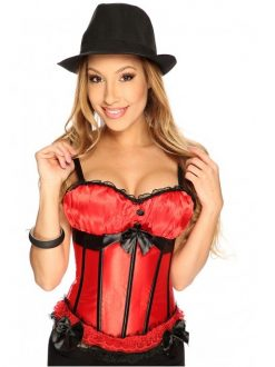 Corset satin cu volanase Seduction Rosu