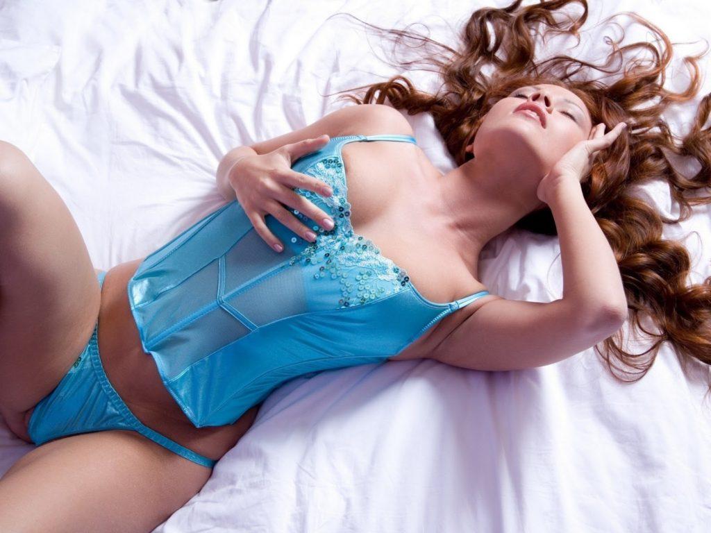 Blue Lingerie Model Pose