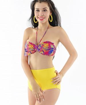 Costum de baie cu talie inalta si fundita la sutien Morena G