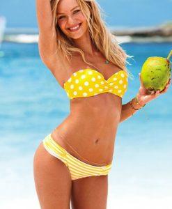 Costum de baie cu buline si push-up Lemon