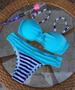 Costum de baie cu push-up si slip clasic Loca Albastru