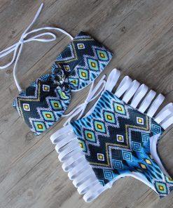 Costum de baie cu talie inalta retro si benzi elastice Malibu AlbAlbastru