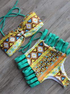Dres de baie cu talie inalta retro si benzi elastice Malibu verdegalben