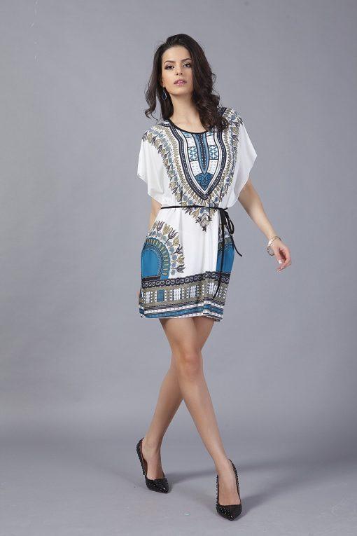 Rochita de plaja cu imprimeu Africa Albastru