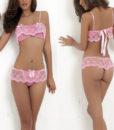 Set dantela sutien si bikini roz
