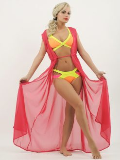 Costum-de-baie-cu-benzi-elastice-verde-si-portocaliu-neon-si-cardigan-din-voal-roz