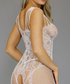 BodyStocking plasa cu model Rodos Alb