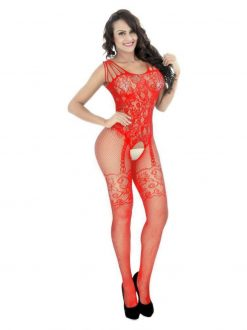 BodyStocking plasa cu model Rodos Rosu