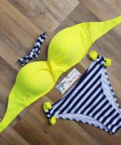 Costum de baie cu push-up si slip clasic Loca Galben