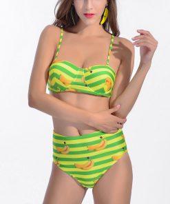 Costum de baie cu talie inalta imprimeu Banane