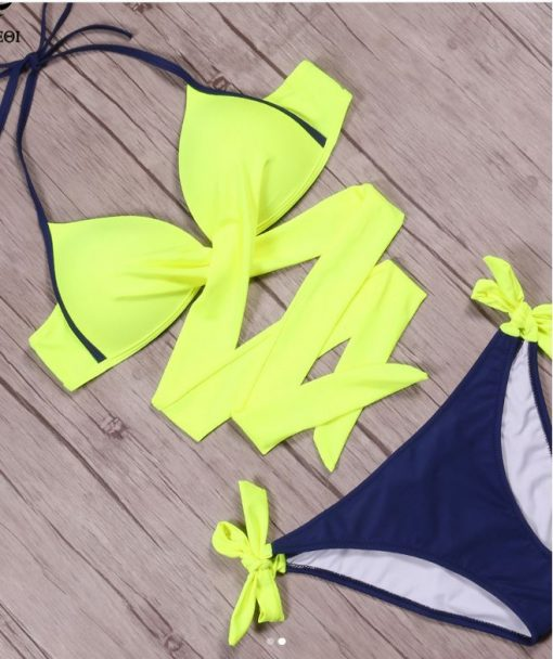 Costum de baie cu slip reglabil Vegas GalbenAlbastru