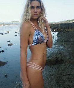 Costum de baie cu imprimeu sarpe si slip brazilian Paradis