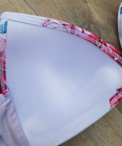 Costum de baie cu volane si imprimeu Santorini