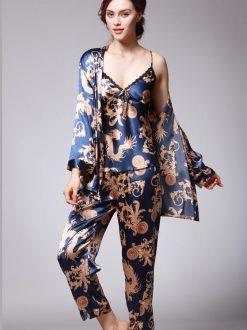 Set pijama satin trei piese Orient Albastru Roial