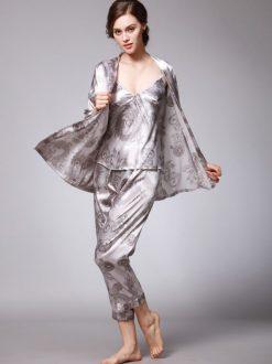 Set pijama satin trei piese Orient Gry