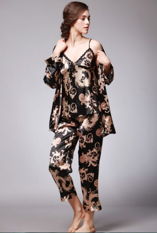 Set pijama satin trei piese Orient Negru
