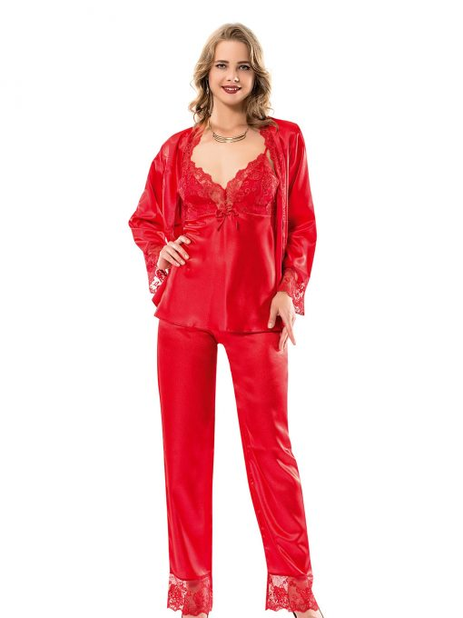 Set pijama satin trei piese Maroc