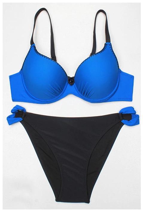 Costum de baie clasic Atena Albastru/Negru