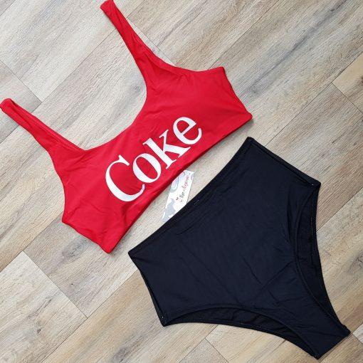 Costum de baie cu talie inalta si bustiera Coke