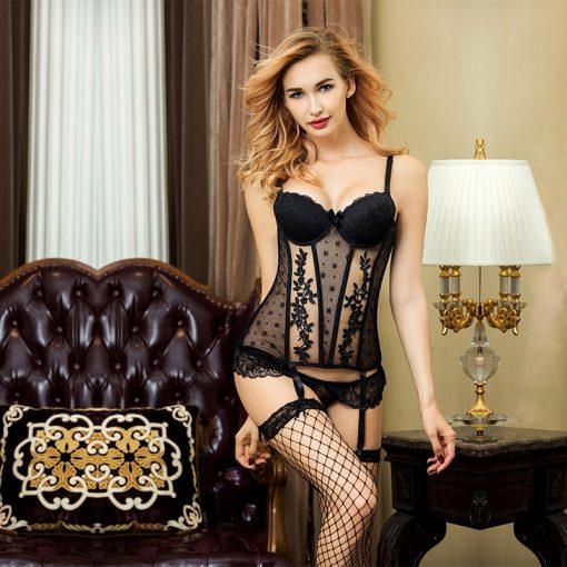 Set complet corset si ciorapi Loredana