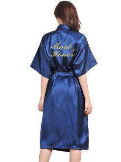 Halat Satin Lung Domnisoara de onoare Albastru