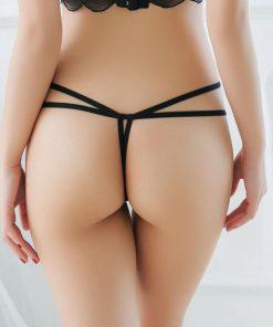 Bikini tanga cu perle New York Negru
