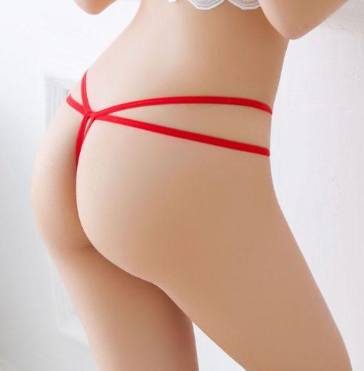 Bikini tanga cu perle New York Rosu