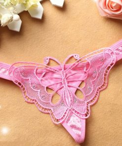 Bikini tanga din dantela Fluture Roz