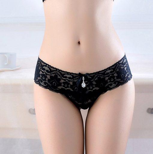 Bikini tanga din dantela Paris negru