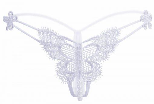 Bikini tanga din dantela cu Fluture Alb si perle