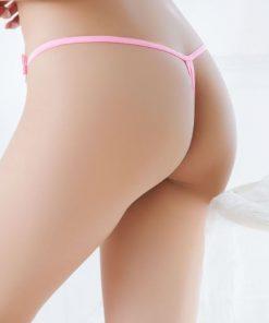Bikini tanga din dantela cu Fluture si perle Roz