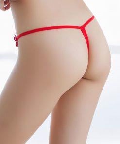 Bikini tanga din dantela cu Fluture si perle rosu