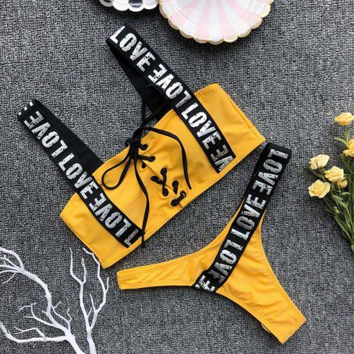 Costum de baie cu benzi Love Galben