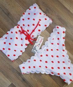 Costum de baie cu buline Sandy Alb