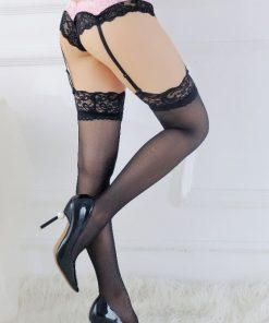 Set sexy bikini cu portjartiere $ ciorapi Anastasia NegruRoz