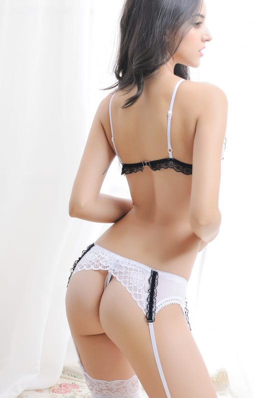 Set sexy dantela si masca Kariss AlbNegru