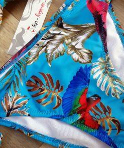Costum de baie cu push-up si imprimeu exotic Granada Blue