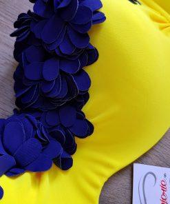 Costum de baie cu push-up si slip brazilian Mojito Galben/Albastru