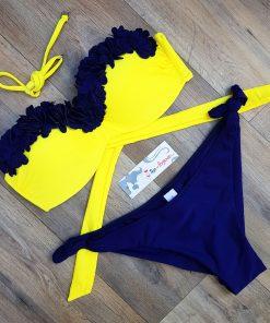 Costum de baie cu push-up si slip brazilian Mojito GalbenAlbastru