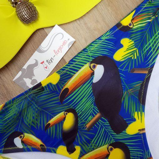 Costum de baie in doua culori cu print exotic Etna