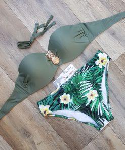 Costum de baie in doua culori cu print floral Francisca
