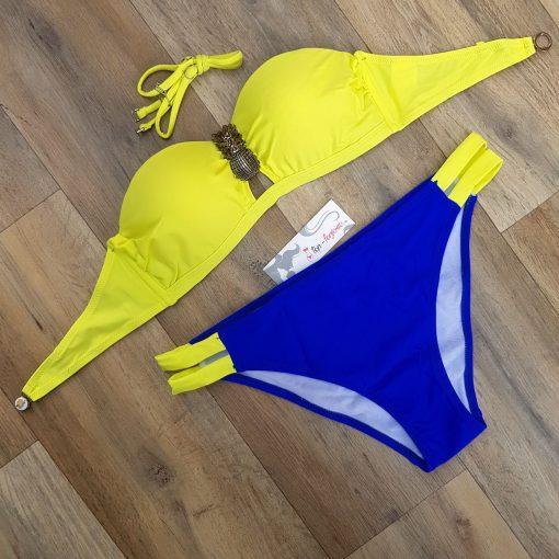 Costum de baie in doua culori cu push-up Milady Galben/Albastru