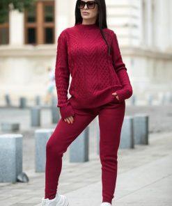 Compleu trening tricotat Fashion Visiniu