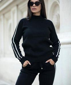 Compleu trening tricotat cu dungi laterale Pamela Black
