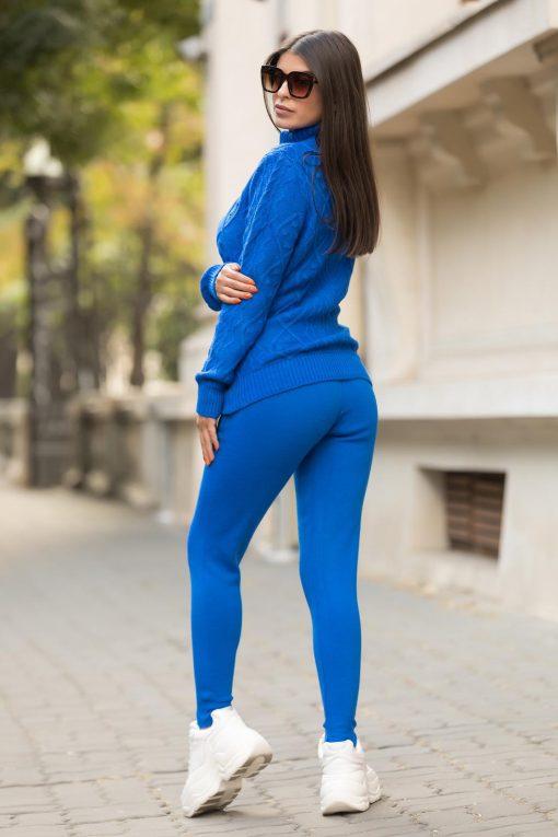 Compleu trening tricotat cu fermoar Ruxandra Blue