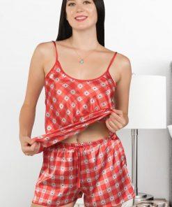 Set pijama satin doua piese Dragun Rosu