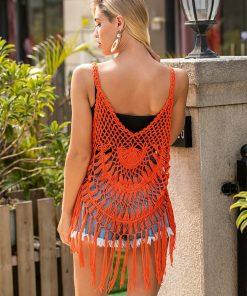Rochita de plaja crosetata Simona Orange