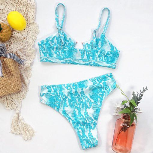 Costum de baie cu slip brazilian Los Angeles Albastru