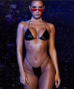 Costum de baie cu slip brazilian Roxete Negru